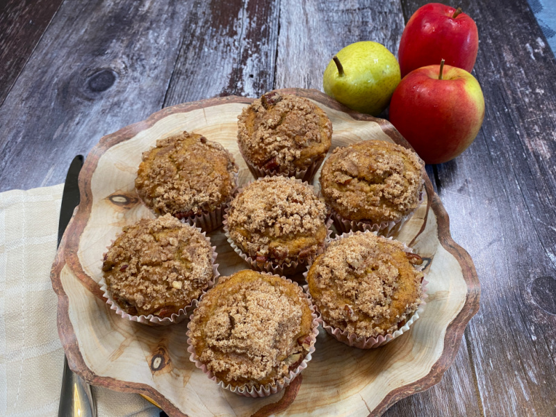 Apple Pear and Pecan Streusel Muffins