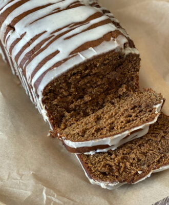 Banana Gingerbread Loaf Cake sliced ready to serve
