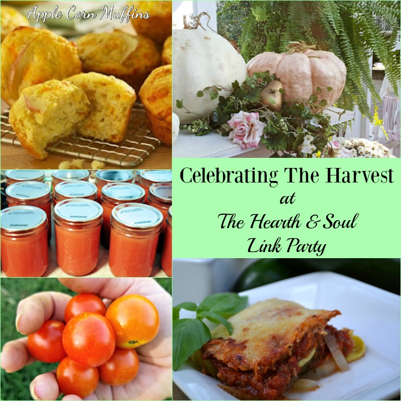 Celebrating The Harvest at The Hearth and Soul Link Party with recipes, decorating ideas & more to help you make the most of this time of year.