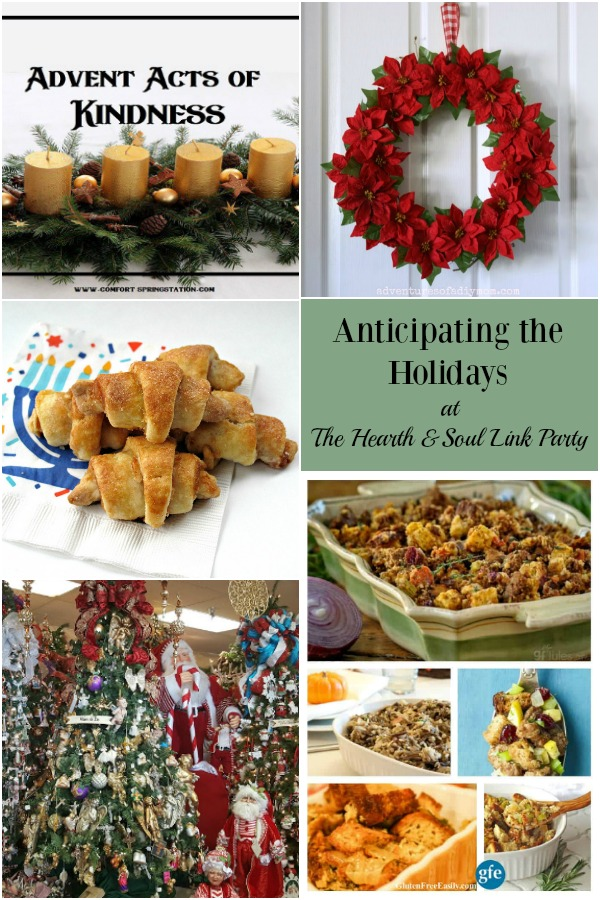 We are anticipating the holidays here at The Hearth & Soul Link Party! Join us for lots of holiday recipes, ideas, inspiration and fun, as well as a chance to share your blog posts about anything that feeds the soul.