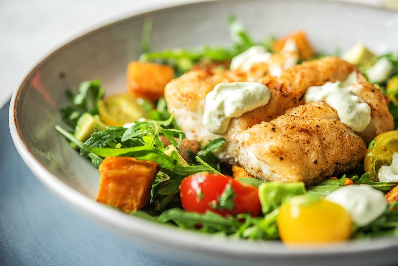 Hot and sweet Cajun spices hail from America's Deep South and bring a delicious warmth Hello Fresh's Cajun Cod recipe. It's made with Cajun spiced cod and hearty roast sweet potatoes, fresh rocket, tomatoes and a cooling crema that is the prefect foil to the sweet heat. I love it when delicious is quick, easy and healthy too!  Photo credit Hello Fresh