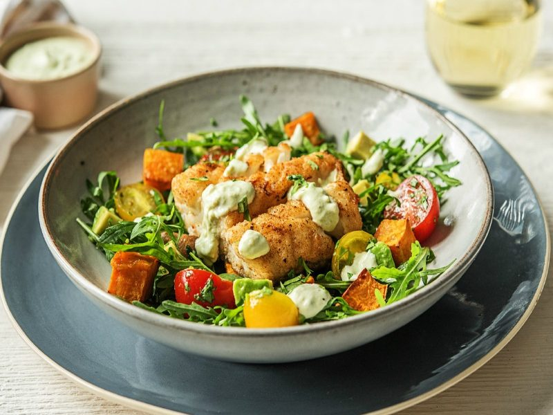 Hot and sweet Cajun spices bring a delicious warmth to this Hello Fresh Cajun Cod recipe made with Cajun spiced cod and hearty roast sweet potatoes, fresh rocket, tomatoes and a cooling crema that is the prefect foil to the sweet heat. I love it when delicious is quick, easy and healthy too! Photo credit Hello Fresh