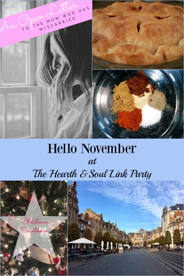 Hello November! We are welcoming the month here at the Hearth and Soul Link Part with recipes, crafts and ideas to inspire and delight! Plus, please join us to share blog posts about anything that feeds the soul!