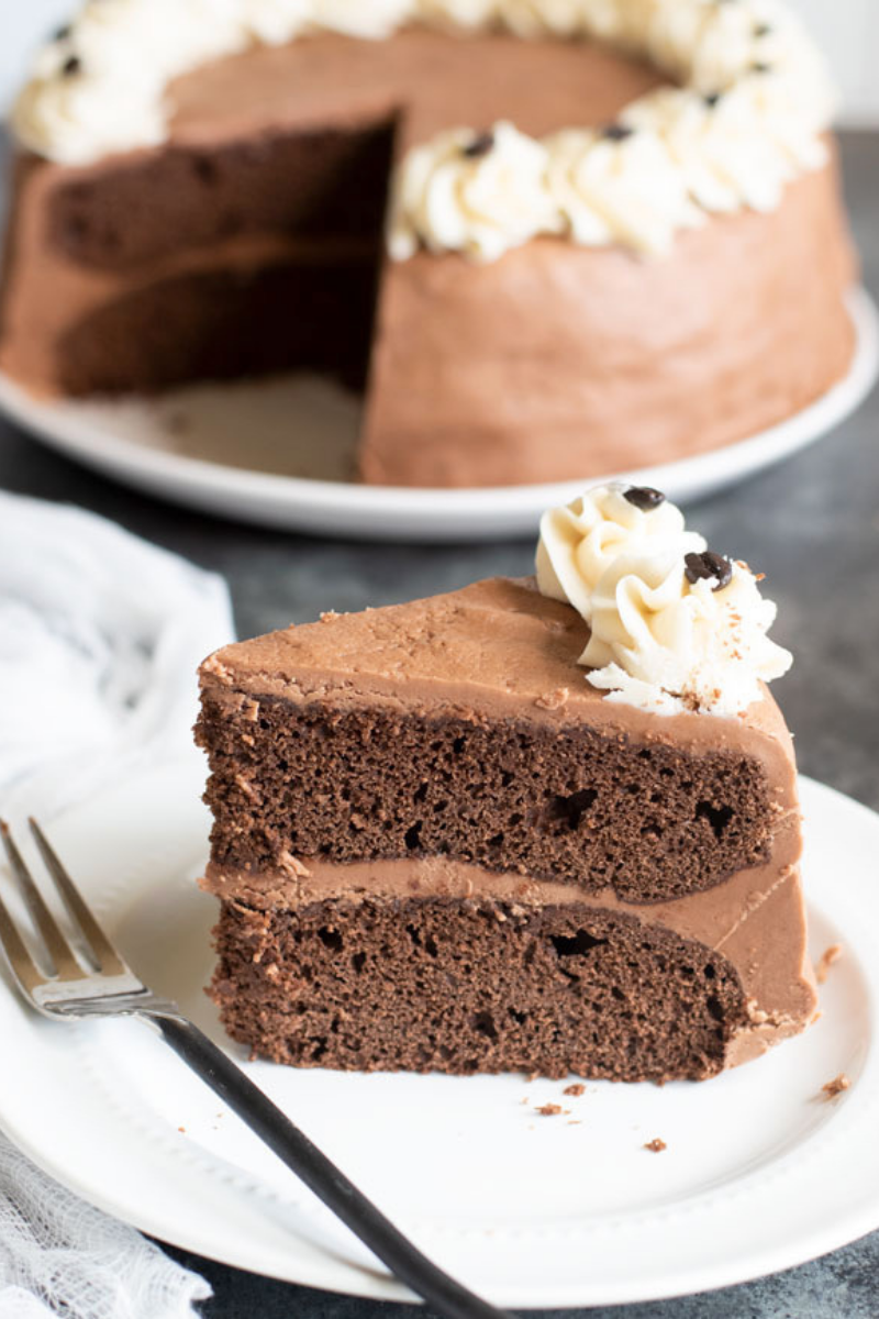 Gluten Free Mocha Cake in the background, with a slice of cake in the foreground