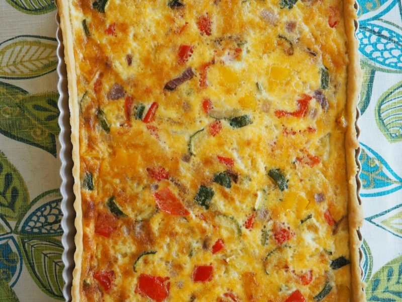It's all in the name! My Easy Vegetarian Quiche recipe makes a lovely light lunch or supper & couldn't be more simple to make. It's delicious served with a salad or baked potato. Leftovers are great in a lunchbox next day! https://apriljharris.com/easy-vegetarian-quiche-recipe/