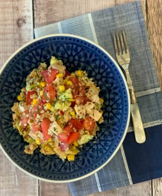 My Chicken Salad with Salsa and Quinoa combines flavourful salsa, grilled chicken and protein packed quinoa for a fresh, healthy salad you will love.