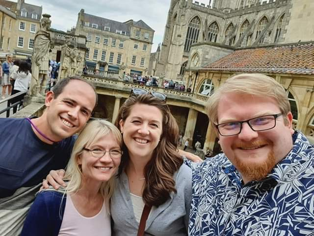 With family and friends at The Roman Baths in Bath, England