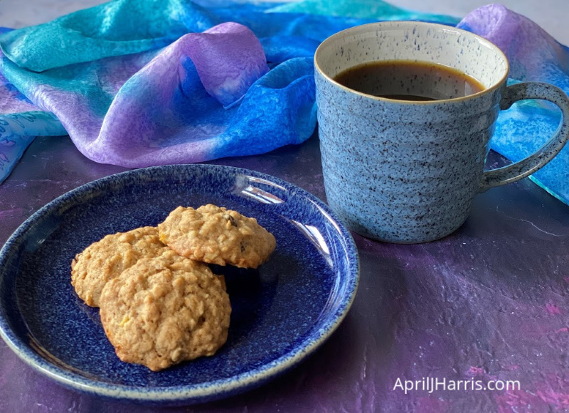 Old Fashioned Banana Oatmeal Cookies served with a cup of tea