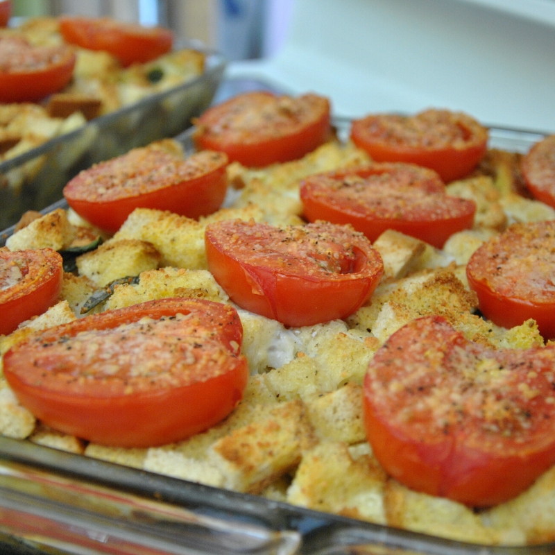 Brie Basil and Tomato Strata in a casserole