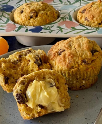Carrot and Orange Oat Bran Muffins served