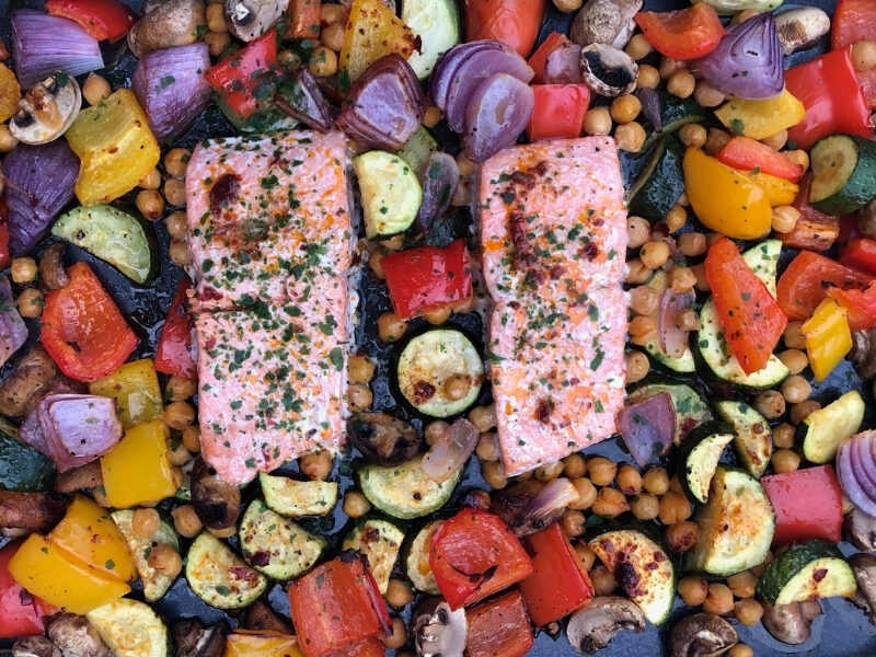 Sheet Pan with One Pan Salmon and Roasted Mediterranean Vegetables