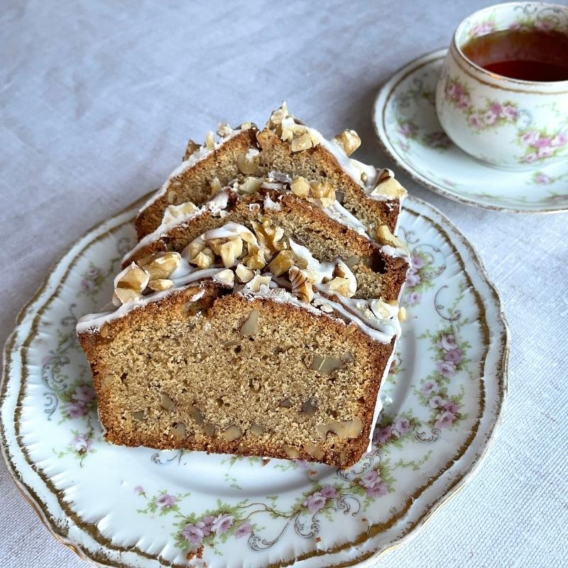 Gluten Free Coffee and Walnut Cake slices