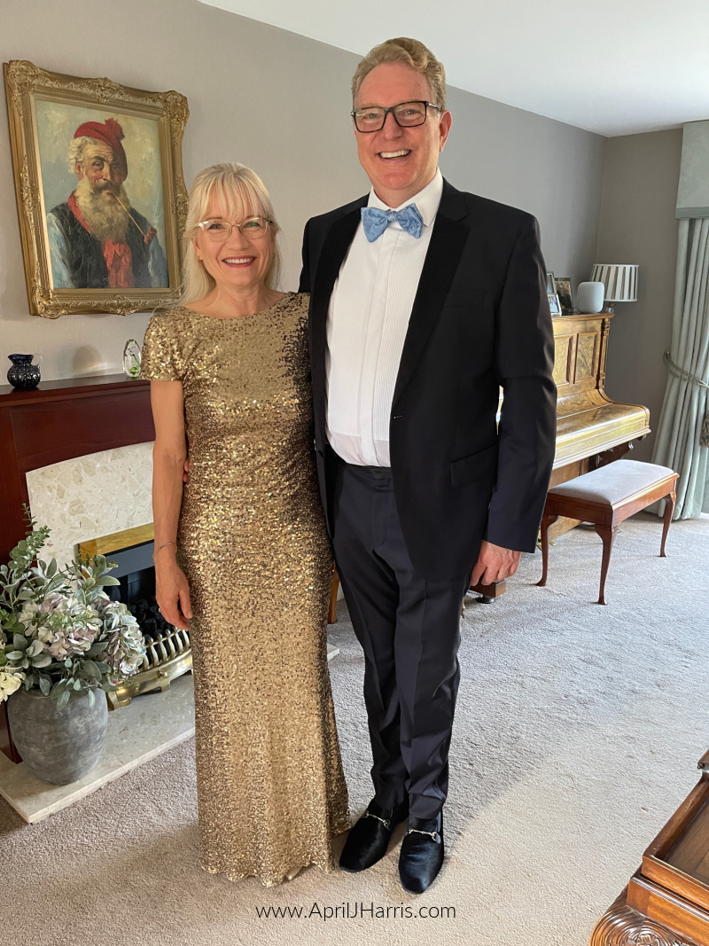 Slow Down and Savour - April and Guy Harris dressed for a formal dinner and ball