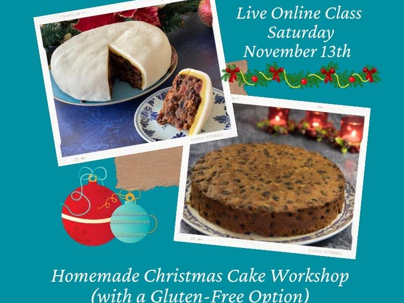 Online Homemade Christmas Cake Workshop Flyer